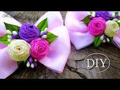 Бантики с Розами, МК / DIY Ribbon Bows with Rolled Roses - YouTube