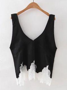 Shop Black V Neck Lace Hem Tank Top online. SheIn offers Black V Neck Lace Hem Tank Top & more to fit your fashionable needs.
