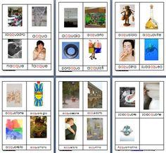 Metodo Montessori schede delle nomenclature per le difficoltà ortografiche QQU CQU
