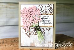 Coffee & Crafts Class:  Beautiful Bouquet Wedding Card  | Stampin Up Demonstrator Linda Cullen | Crafty Stampin' | Purchase your Stampin' Up Supplies | Beautiful Bouquet Stamp Set |   Bouquet bunch Framelits Dies | Wood Texture Designer Series Paper  | Copper Embossing Powder