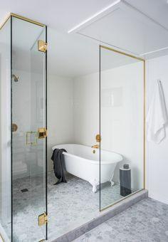 clawfoot tub in shower enclosure Wet Room Bathroom, Bathroom Renos, Bathroom Interior, Modern Bathroom, Small Bathroom, Master Bathroom, Bathroom Ideas, Bathroom Marble, Bath Room