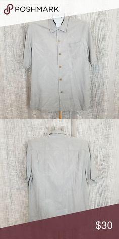 a6d2963f7111d Tommy Bahama This medium gray 100% Silk textured palm print camp shirt
