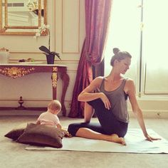 So cute! Gisele Bundchen and her 6-month-old sweetie do mommy-daughter yoga (Bundchen shared the pic with fans on her Instagram account).