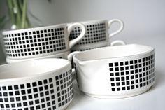 Six Piece Retro East German Black and White Coffee Set- includes 4 cups, 1 milk pourer, 1 sugar bowl. €30,00, via Etsy.