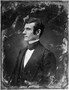 Unidentified man, about 30 years of age, half-length portrait, nearly in profile to the left. Photographed by Mathew Brady between 1844 and 1860 as a gold toned daguerreotype half plate.