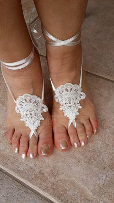 Bridal Lace Barefoot Sandals Beach Pool  Sandals Wedding