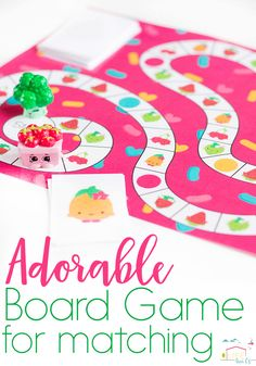 The free printable matching game for preschoolers is a fun twist on Candyland! Match these cute foods (your Shopkins lovers will especially love it!) as they play this simple board game.