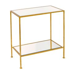 """2-tier gold leafed rectangular side table with plain mirror tops. Color: gold, mirror Dimensions: 22""""W X 25""""H X 12""""D"""