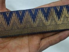 Jacquard designer Lace and Trims in Navy Blue and Gold