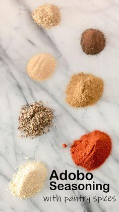 >Making your own spice mixes saves you money and uses up your old spices. Adobo Seasoning is used in many traditional Latin dishes an is so versatile! Pork Seasoning, Vegetable Seasoning, Seasoning Mixes, Mexican Seasoning For Chicken, Salmon Seasoning, Homemade Spices, Homemade Seasonings, Pork Marinade, Spice Mixes