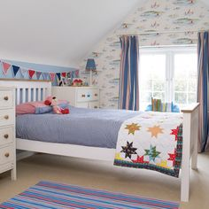 Beautiful Bedroom Inspiration For Boy with Wall Sticker Set and Colorful Square Set also White Farme Bed Near White Vanities and White Drawers also White Beside Table Idea and Headboard
