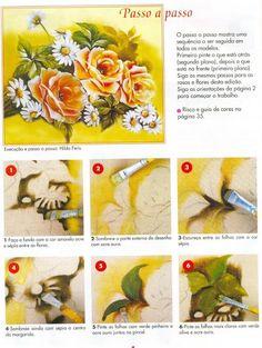 Pintura em Tecido Passo a Passo: Rosas e margaridas