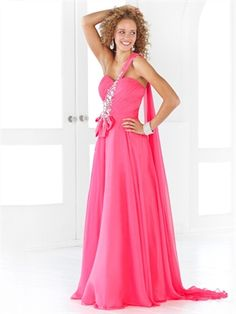 Elegant One Shoulder Strapless Beaded Chiffon Fuchsia Prom Dress PD10885 www.dresseshouse.co.uk $109.0000