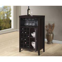 Derremer Contemporary Dark Brown Bar Cabinet - Overstock™ Shopping - The Best Prices on Baxton Studio Wine Storage