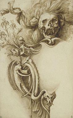 The art of Jacopo Ligozzi, 1547–1627 Cartouche with Macabre Symbols and a Hairy Skull (no date).. ligozzi1.jpg