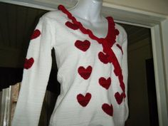 Vtg 80s Sexy deep V Valentine  Romantic Red Hearts Crop Sweater Sz M on Etsy, $40.00