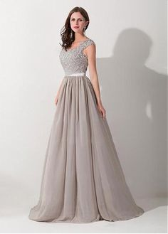 Elegant Chiffon & Tulle & Stretch Satin V-neck A-line Evening Dress with Beaded Lace Appliques #selectprom