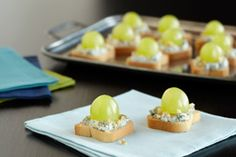 Blue- Green Canapés Appetizer. Blue cheese and green grapes.