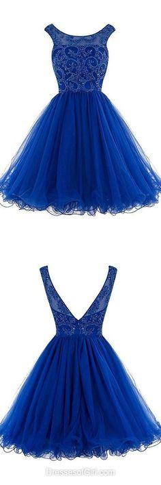Royal Blue Homecoming Dresses, Backless Prom Dresses, Modest Party Dress, Simple Graduation Dresses, Cheap Formal Dresses, Short Cocktail Gowns , MeetDresses.com
