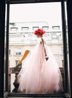 pink hair, pink tulle