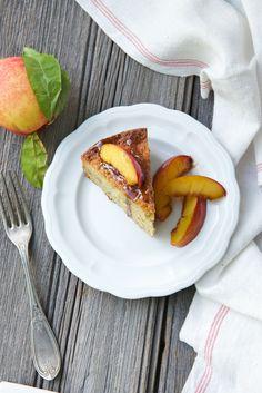 Pistachio Almond Cake with Brown Sugar Nectarines.