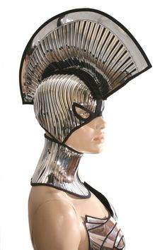 spartan warrior mask and mohawk warrior headpiece armor sci fi futuristic cyber headdress