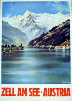 Original Vintage Posters -> Travel Posters -> Zell am See - Austria - AntikBar....réépinglé par Maurie Daboux .•*`*•. ❥