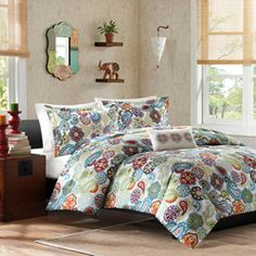 @Overstock - This comforter set is a fresh look at a contemporary paisley pattern with an eclectic mix of colorful florals and medallions. Made from polyester microfiber, this comforter and matching sham are soft to the touch and machine washable for easy care.http://www.overstock.com/Bedding-Bath/Mizone-Asha-4-piece-Comforter-Set/7110762/product.html?CID=214117 $49.99
