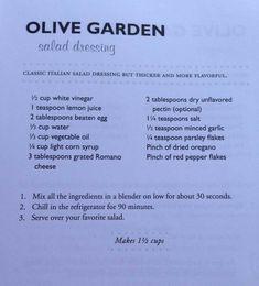 Olive Garden Salad Dressing -- but for safety!, leave out the raw egg! Olive Garden Dressing, Olive Garden Salad, Olive Garden Recipes, Copykat Recipes, Sauce Recipes, Cooking Recipes, Healthy Recipes, Salate Warm, Olives