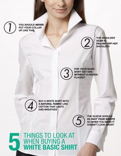 Basic white shirt what to look for workwear women shopping fabric