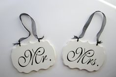 Wedding Signs Mr and Mrs Decorative Wedding Signs/ by kimgilbert3,