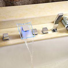 Badkarsblandare · Nutida Art DecoRetro Moderna Badkar och dusch Flush Mount  Lights Vattenfall brett spary Handdusch inkluderad with 75f0c941553b5