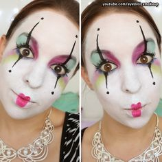 Eyedolize Makeup: Cute & Colorful Mime Makeup - A Twist on the Classic Black & White