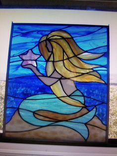 This Mermaid was my first Stain Glass Art piece for glass.