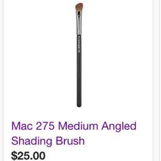 MAC cosmetics 275 medium angled brush Gently loved Mac cosmetics 275 brush. Like new. Sanitized and ready to use. MAC Cosmetics Makeup Brushes & Tools