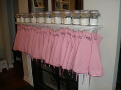 Aprons and cookies in a jar party favors for Rylee's birthday