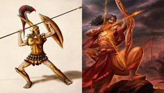 They are both demigods in their mythologies and are considered the most skilled warriors in their epics. The death of them leads to the eventual ending of the wars in their stories. Similarities Between, Mythological Characters, Indian Gods, Achilles, Mythology, Warriors, Greek, Death, History