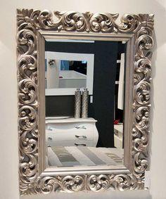 Espejo con marco tallado de artesania espejos for Espejos plateados