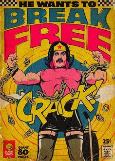 Freddie Mercury, Königin, Vintage Comics, Wonder Woman, – My Favorite Pins Comics Vintage, Vintage Comic Books, Killer Queen, Comic Book Covers, Comic Book Heroes, Reine Art, Queen Songs, Stranger Things, Digital Foto