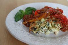 Ricotta & Spinach Cannelloni with a Capsicum & Tomato Ragu - vegetarian