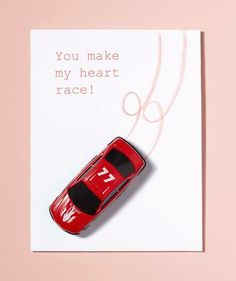 Easy DIY Valentine's Day Card: You Make My Heart Race