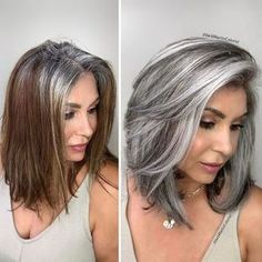Long Curly Hair, Curly Hair Styles, Curly Short, Grey Hair Transformation, Gray Hair Highlights, Chunky Highlights, Caramel Highlights, Silver Hair, Human Hair Extensions