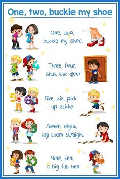 Buy One Two Buckle My Shoe by BlueRingMedia on GraphicRiver. One two buckle my shoe illustration Rhyming Poems For Kids, Preschool Poems, Kindergarten Poems, Nursery Rhymes Preschool, Rhyming Activities, English Poems For Kids, Learning English For Kids, Songs For Toddlers, Rhymes For Kids