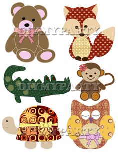 Printable party decor bears foxes monkey Clip Art owl turtle clipart holiday decoration digital birthday party scrapbooking tag diy 333