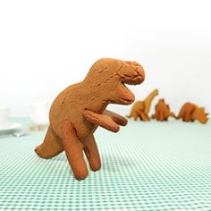 3D Dinosaur cookie cutters -reminiscent of build-your-own dinosaur wood kits.