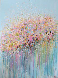 original abstract art -abstract acrylic painting--pastel shades painting-original abstract painting - modern art- flower painting: