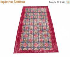 Sale Allover Design Floral Turkish Vintage Rug 6'7'' x 3'11'' Free Shipping #rug #carpet #vintage #handmade #etsy #anatolian #oushak
