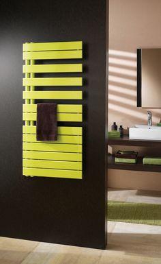 Polar towel radiator in lime green Warm Bathroom, Tropical Bathroom, Bathroom Colors, Bathroom Ideas, Traditional Towel Radiator, Stainless Steel Towel Rail, Towel Heater, Flat Panel Radiators, Bathroom Radiators