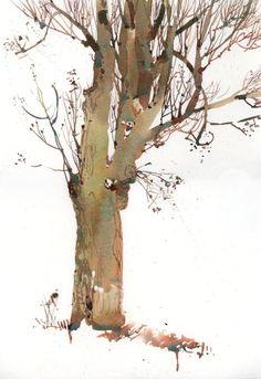 Urban Sketchers: Bare in Montreal Watercolor Trees, Watercolor Artists, Watercolor Drawing, Watercolor Landscape, Landscape Art, Landscape Paintings, Watercolor Paintings, Easy Watercolor, Watercolours