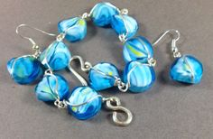 Wire Wrapped Mosaic Lampwork Beaded Bracelets with Matching Earrings in Your Choice of Blues by BlueRoseDreamer on Etsy